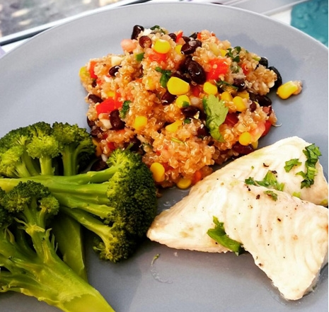 Healthy Quinoa Salad With White Fish In Less Than 10 Minutes